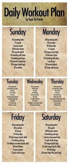 Daily Workout Plan - 7 days of routines!