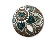Stoneware Brown with White and Turquoise Flower Round Pendant
