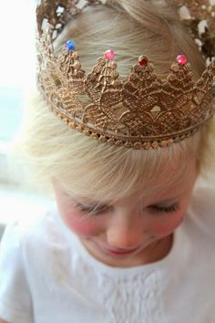 DIY Lace crown with mod podge. via renaissance