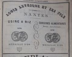 Nantes. Publicité Louis Levesque usine à riz, conserves alimentaires. 1882.
