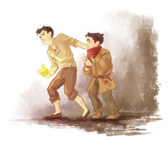 Young Mako and Bolin on the street.