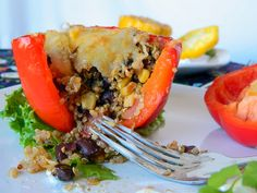 Black Bean and Cilantro Lime Quinoa Stuffed Peppers