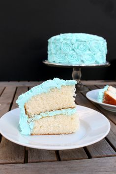 Fluffy White Cake with Vanilla Frosting -- Delicious and aqua. Enough said.