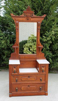 Fine Eastlake Victorian Walnut & Burl Marble Top Drop Center Dresser ~ c1880