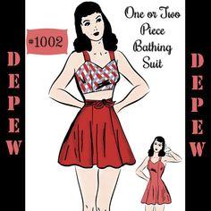 Vintage Sewing Pattern Bathing Beauties 1940's Bathing by Mrsdepew, $7.50