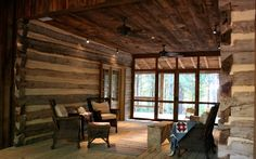 The screened in dog trot between the two pens of the cabin takes advantage of the prevailing breezes.