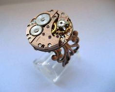Steampunk Adjustable Copper Ring by KoollooK on Etsy, $39.80
