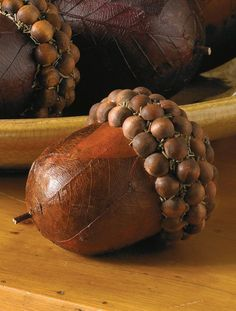 Giant Acorns Handmade From Wooden Beads and Dried Leaves
