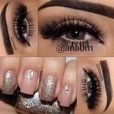 brown eye makeup and light pink and sparkle nails WAY TOO MUCH FAKE EYELASHES THOUGH!