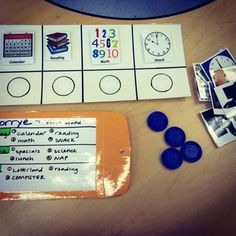 Positive behavior support/token board for student with autism. Uses the day's schedule while using snack, resting time, and computer time as rewards. :) @Debbie Arruda Arruda Arruda Metcalf