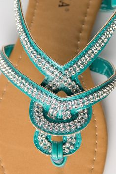 Woven jeweled thong sandals