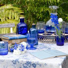 Blue garden tableware. table settings, feeling blue, summer gardens, blue garden, cobalt blue, glass, tea tables, deep blue, blues