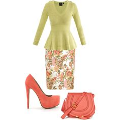 Floral pencil skirt, lime green peplum top, coral heels