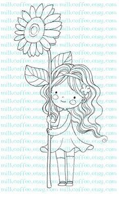 Digital Stamp Lisbeth Loves Sunflower. $3.00, via Etsy.