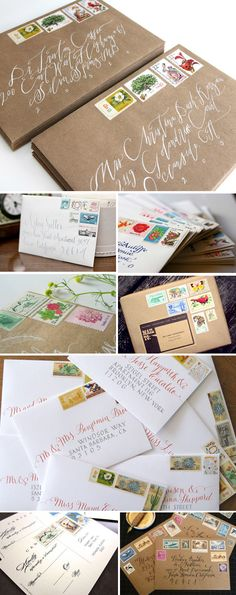 beautiful envelopes, great calligraphy exampes.  The collections of stamps make them tiny works of art. vintage postage stamps, invitation postal stamp, beauti envelop, letter, kraft paper, vintage stamps, handwritten