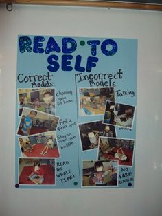 Read to Self chart for Daily 5-love the correct model/incorrect model pictures!