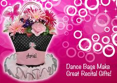 Dance Recital time is here!  Fill a Dance Bag with flowers or goodies for her dance recital gift!  http://www.thecrazydazy.com/personalized-dance-bags-Dance-Stuff.aspx