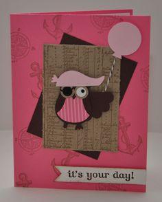 Girl Pirate Owl Birthday Card - Stampin Up