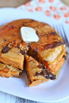 Whole Wheat Chocolate Chip Sweet Potato Pancakes