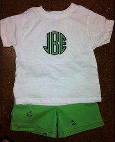 Boy's Circle Monogram Shirt with Matching Shorts $25.00