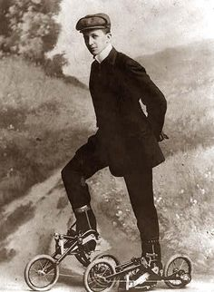 Young man on roller skates that are pedaled. 1910.