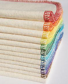 Organic Cloth Wipes or Wash Cloths - SPECTRUM - 12 Pack - Rainbow