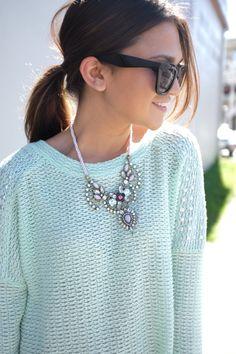 mint sweater + pastel statement necklace