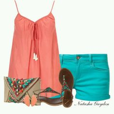 Coral and turquoise summer outfit  #wholesalecheaphub.com