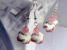 White Lampwork Rose Earrings by RosysJewelsandYarns on Etsy, $20.00