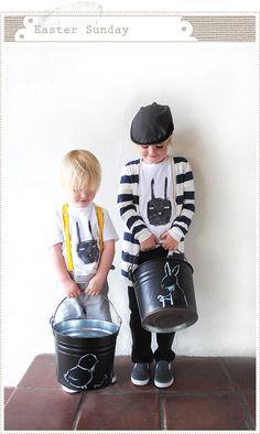 Chalkboard egg pails and handmade bunny tees.