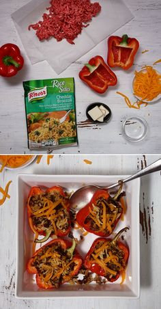 Knorr Cheddar Rice Stuffed Peppers are bursting with flavor. With only 6 ingredients, take your favorite cheddar & broccoli combo to the next level using this deliciously simple recipe. Just stuff bell peppers with Knorr® Rice Sides™ - Cheddar Broccoli and ground beef. Bake and sprinkle with cheddar cheese! Who knew dinner could be so easy and fun to make!