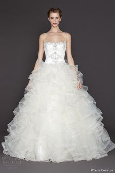 winnie couture wedding dresses 2015 mila ball gown ruffle skirt straps embroidered bodice