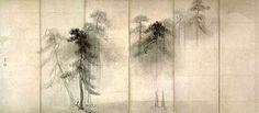 Pine Trees, ink-on-paper screen by Hasegawa Tohaku, 1539-1610, Japanese artist