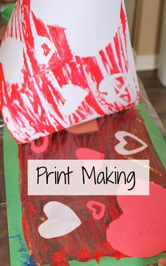 Vakentine print making for kids