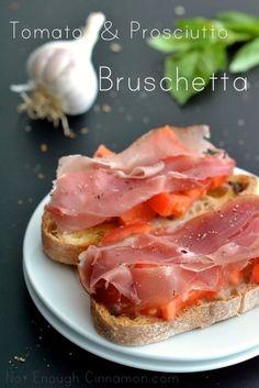 Tomato and Prosciutto Bruschetta - Not Enough Cinnamon amaz appet, prosciutto bruschetta, appetizer recipes, food, tomato prosciutto, tomatoes, bruschetta recip, appet recip