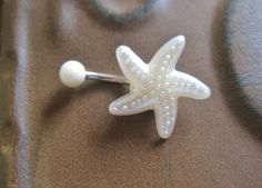 Belly Button Jewelry Ring- Starfish Shell Star Fish Stud Pearl Navel Piercing White Bar Barbell