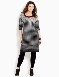 Beale Street Dress: Mesmerizingly stylish, our illusive dress comes in a faded ombre tile print for a fresh perspective. Sparkling accents highlight the contrast color neckline. Pair it with any of our leggings this season for a fresh, fall look. catherines.com #catherines #plussize #plussizefashion #fallstyle #plussizedress