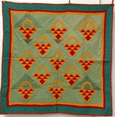 Basket pattern crib quilt  ca. 1870-90;  Great colors
