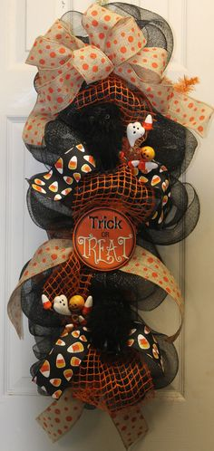 Trick or Treat Halloween Mesh Wreath by southernchicbyle on Etsy, $54.00