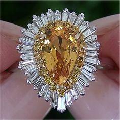 Estate 5.65 ct Natural Yellow Sapphire Diamond Engagement Vintage Ring 14k Gold