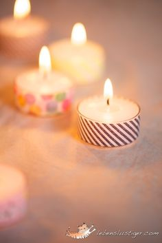 DIY Tea Lights with Washi Tape @lebenslustiger #handmade #tealight #candle #paper #tape #washi #pretty