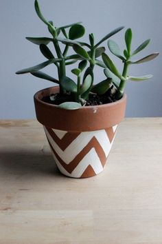 Chevron Painted Terra Cotta Pot