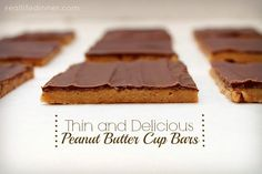 Peanut Butter Cup Bars {No Bake} oh these look good!
