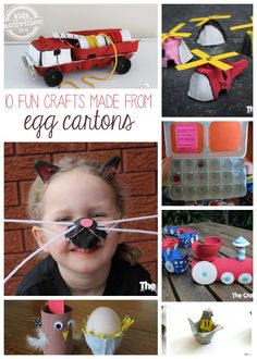 So many cute ideas!  10 {More} Egg Carton Crafts