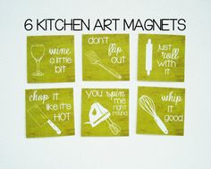 "Funny Kitchen Art Magnets (2"" x 2"" on tile) - featuring six different kitchen appliances with silly sayings in two different fonts - can be made in 33 different colors! These make great housewarming gifts or last minute birthday gifts and are the PERFECT stocking stuffer! #funnykitchen #kitchenart #magnets #tilemagnets #twocatsdecorations"