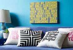Fun pillows - via One Kings Lane #cutepillows #pillowsforsale #decoratingwithpillows