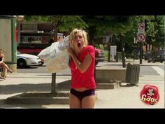 Sexy Dress Sucked By Perverted Street Cleaner - A sexy girl has her dress completely sucked off her body by a perverted cleaner. When she asks for her dress back, she find out that the worker spends his days sucking lingerie off women's bodies, he's got undies, bras and panties galore in his cleaning pot.