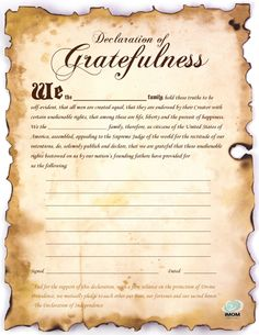 Declaration of Gratefulness school, famili, printabl, kid