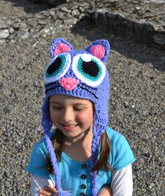 Cat, Kitty Monster Hat, Crochet Baby Hat, Animal Hat, photo prop, Inspired by Moshi Monsters  - Baby, Toddler, Child. $24.00, via Etsy.