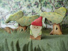 Wooden Gnome  Kids Toy  Waldorf natural wood door WaldorfWoodToys